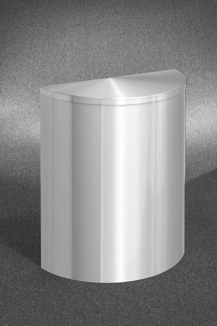 29 Gallon Half Round Trash Can with Hinged Lid Satin Aluminum