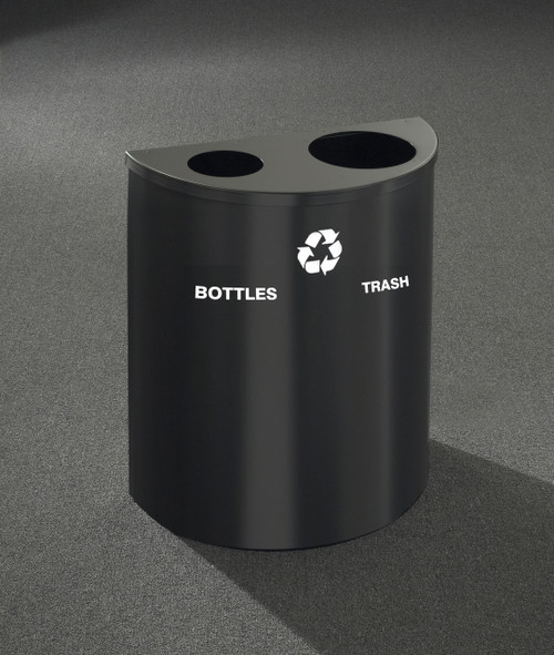 29 Gallon Dual Half Round Recycling Trash Can Hinged Lid Satin Black Bottles & Cans and Waste Openings