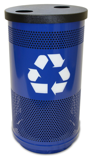 35 Gallon Perforated Metal Recycling Trash Can 7 Lid Options SC35-02-BS (Shown in Blue Streak)