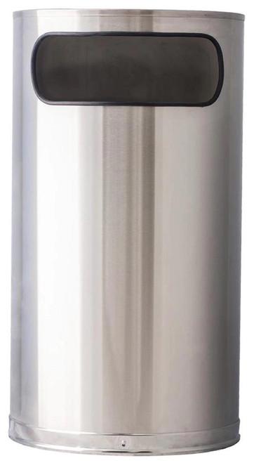9 Gallon Designer Stainless Steel Half Round Receptacle 9HR-SS
