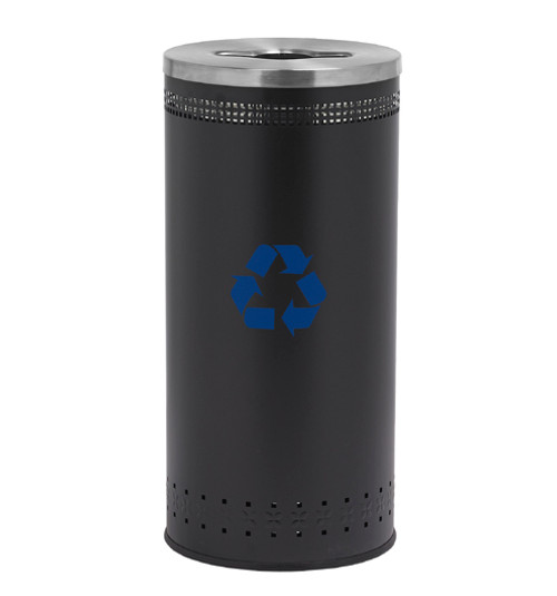 25 Gallon Precision Series Imprinted Painted Steel Recycling Trash Can