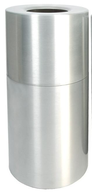 24 Gallon Aluminum Trash Container Open Top Clear Coat