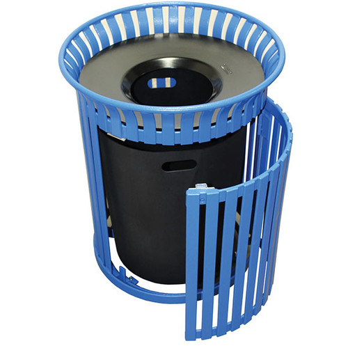 40 Gallon Steel Outdoor Pitch In Lid Waste Receptacle MF3222 with Side Door