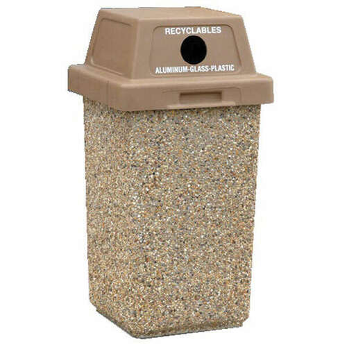 30 Gallon Concrete Outdoor Recycling Trash Can TF1012 Exposed Aggregate
