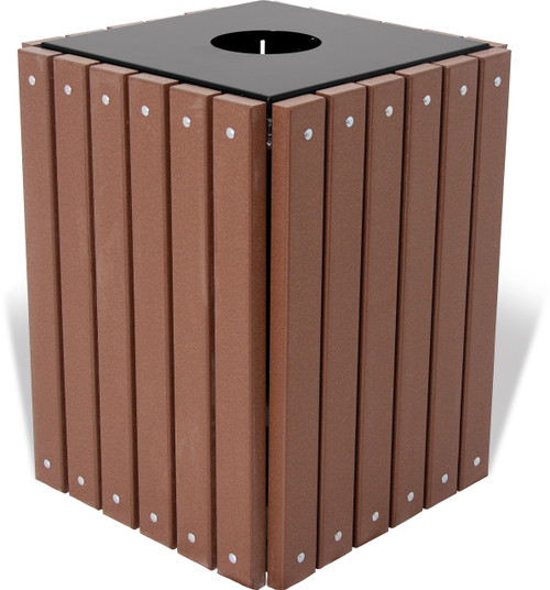 32 Gallon Ultra Site Square Wood or Plastic Trash Can TRSQ32 Recycled Brown
