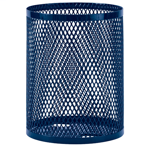 55 Gallon Ultra Site Metal Mesh Street Park Trash Can Blue