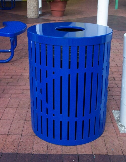 32 Gallon Ultra Site Designer Street Park Metal Trash Can Blue Flat Top