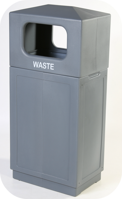 39 Gallon Indoor Outdoor Forte Dome Top Plastic Waste Can Gray
