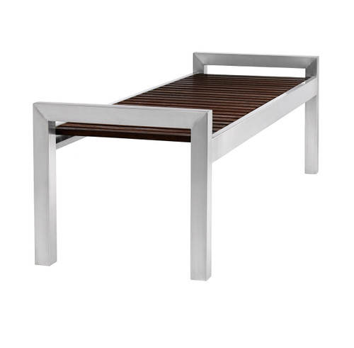 5 Foot Skyline Wood Bench with Stainless Steel Legs 725453