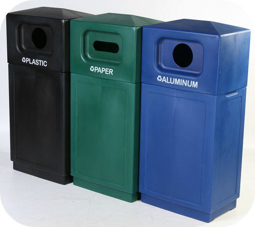 39 Gallon Forte Outdoor Hooded Dome Top Recycle Bin Group