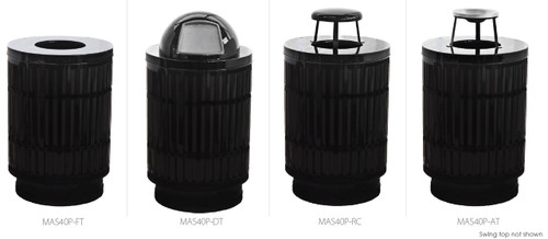 40 Gallon Laser Cut Mason Outdoor Waste Can MAS40P (4 Colors, 5 Lid Styles)