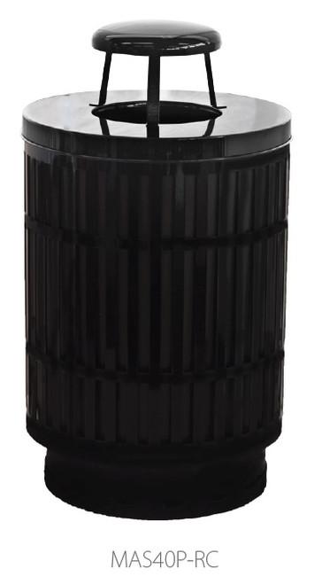 40 Gallon Laser Cut Mason Outdoor Waste Container Rain Top