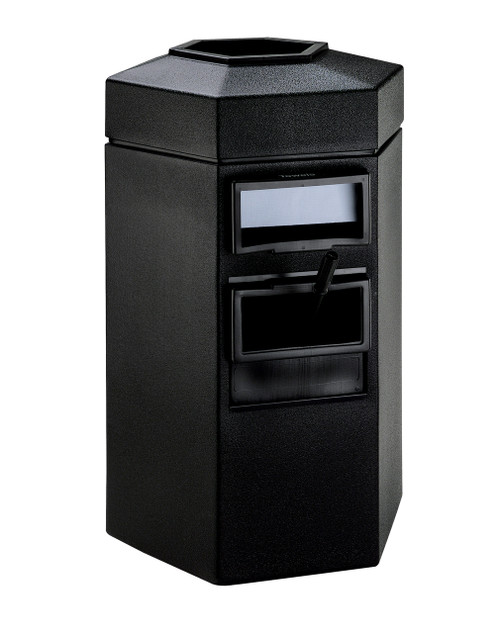 45 Gallon Single Sided Gas Station Outdoor Trash Can Auto Attendant Black