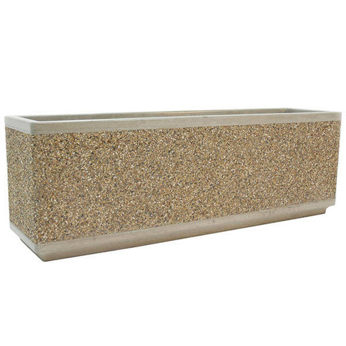 66 x 18 x 30 Outdoor Rectangular Concrete Planter TF4169 Exposed Aggregate