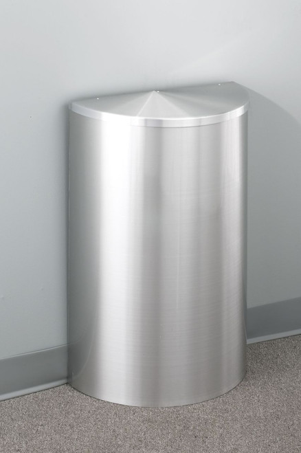 16 Gallon Value Half Round Trash Can with Hinged Lid Satin Aluminum