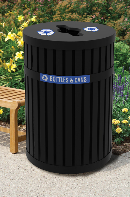 45 Gallon ArchTec Parkview 3 All Metal Recycling Trash Can Outdoors