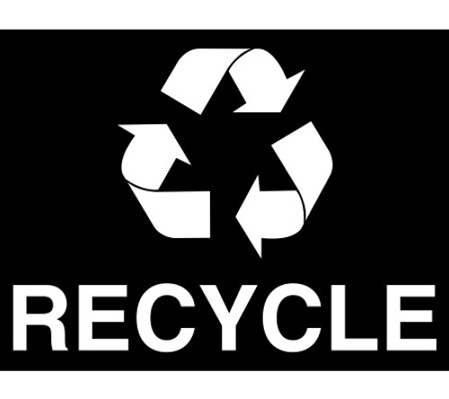 White Mobius Arrow and RECYCLE Decal for Metro Recycle Bins RC-RECYCLE LOGO WHT