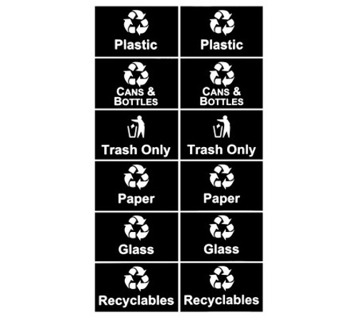 White Recycle Decal Set for Metro Recycle Bins RC-STREAM WHT/BLK