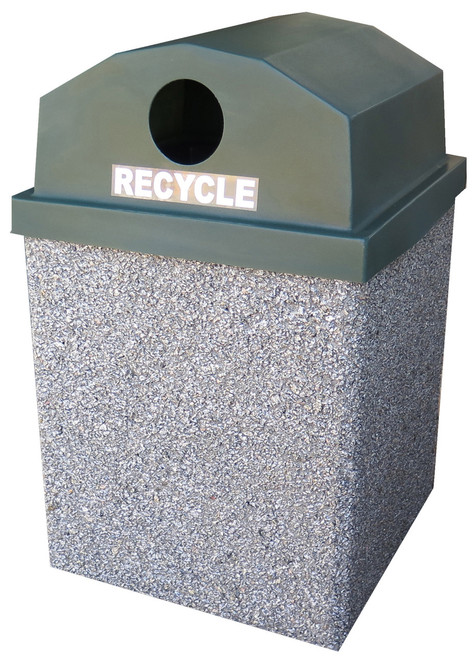 30 Gallon Dome Top Outdoor Concrete Recycling Garbage Can 30G30RL-R (6 Finishes)