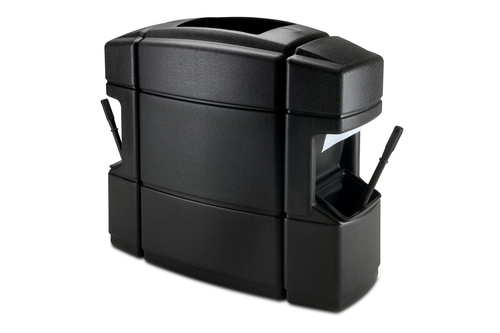 40 Gallon Double Sided Gas Station Trash Can Black