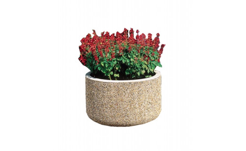 30 x 18 Outdoor Round Concrete Planter TF4030 Exposed Aggregate