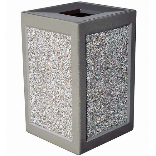 24 Gallon Concrete Outdoor Waste Container TF1240 in Exposed Aggregate