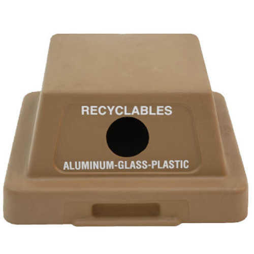 20.5 x 20.5 Dome Top Plastic Recycle Lid TF1408 for Square Trash Cans (Many Colors)