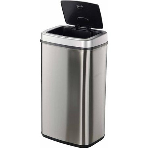 13 Gallon Touchless Automatic Steel Kitchen Trash Can DZT-50-5 Open