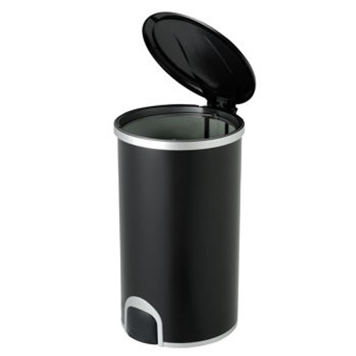 12 Gallon Black Toe Tap Dog Proof Kitchen Trash Can DZT-45-8BK Open