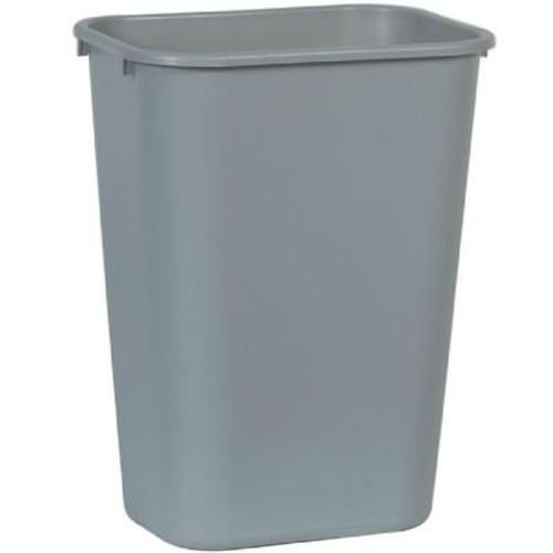 41 Quart Plastic Office Desk Side Wastebaskets Gray 41QT-GY (8 Pack)