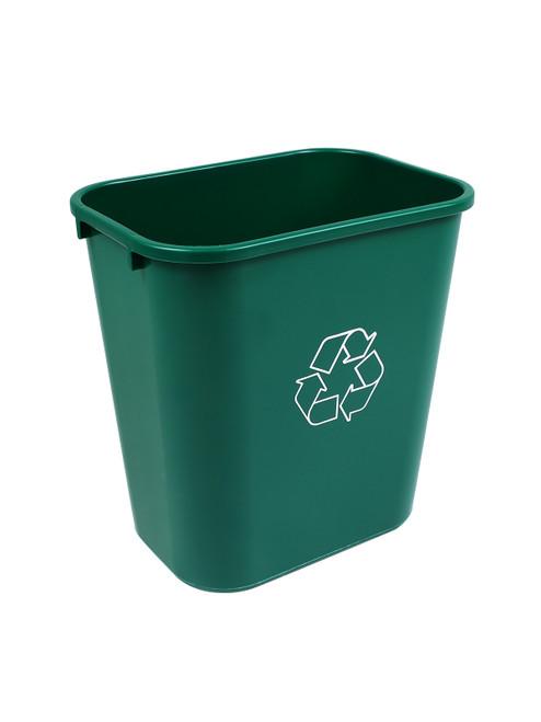 28 Quart Plastic Office Desk Side Recycling Wastebaskets Green 28QT-GN (12 Pack)