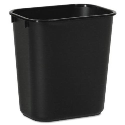 28 Quart Plastic Office Desk Side Wastebaskets Black 28QT-BK (12 Pack)