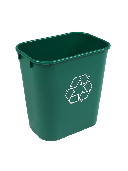 14 Quart Plastic Office Desk Side Recycling Wastebaskets Green 14Q-GN (30 Pack)