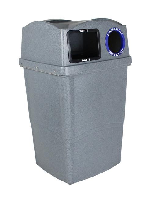 45 Gallon Plastic Wave Duo Combo Recycling Bin 8121001-14