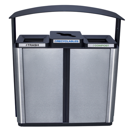 75 Gallon Echelon Outdoor Three Stream Recycling Receptacle ECHX3 (2 Waste, 1 Multi Purpose Openings)