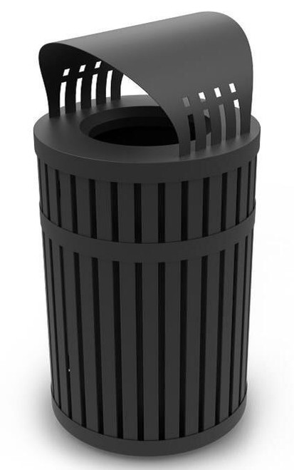 45 Gallon ArchTec 72830199 Parkview 3 Covered Trash Can for Outdoor Public Use