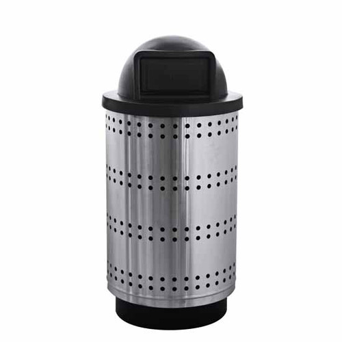 55 Gallon Paramount Perforated Stainless Steel Trash Container PC55P Dome Top