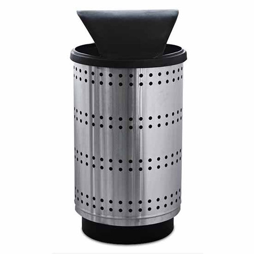55 Gallon Paramount Perforated Stainless Steel Trash Container PC55P Hood Top