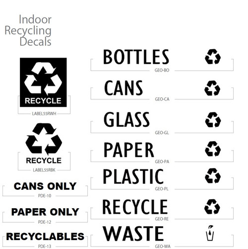 White Decals for Indoor Commercial Recycle Bins INDOORLABELS