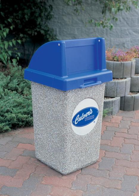 30 Gallon Custom Logo Concrete Square Outdoor Trash Can CLTF1015 with Silkscreen Logo