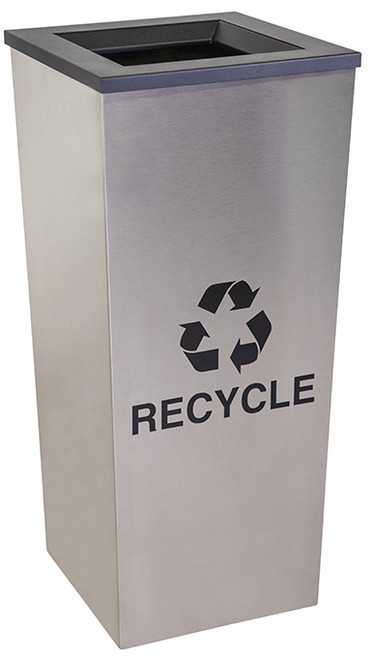 18 Gallon Stainless Steel Single Stream Metro Collection Recycling Bin RC-MTR-1 SS