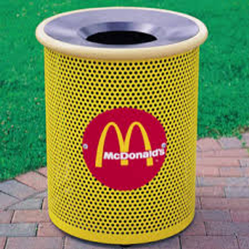 30 Gallon Round Metal Mesh Custom Logo Funnel Lid Trash Can CLMF3001