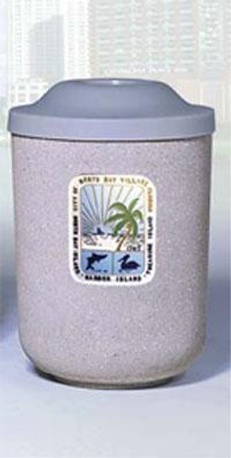 31 Gallon Custom Logo Round Pitch In Lid Trash Can CLTF1083 with Silk Screen Logo