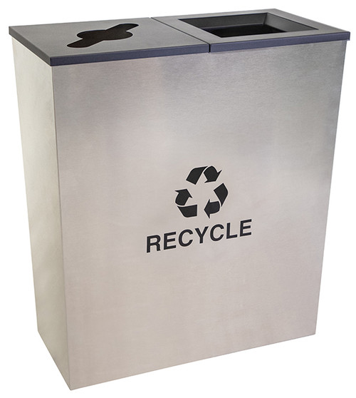 36 Gallon Stainless Steel 2 Stream Metro Collection Recycling Bin RC-MTR-2 SS