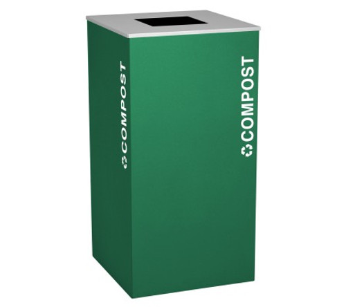 36 Gallon Compost Container Square Steel Food Waste Can RC-KD36-T-CMPST Emerald Green