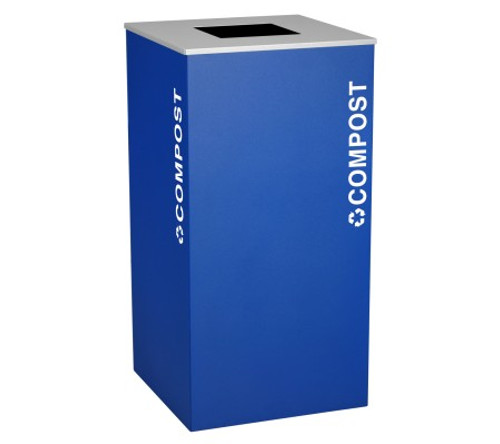 36 Gallon Compost Container Square Steel Food Waste Can RC-KD36-T-CMPST Royal Blue