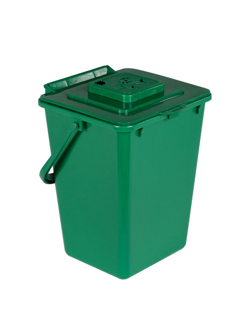 2 Gallon Green Kitchen Composter for Food Scraps Vented Lid