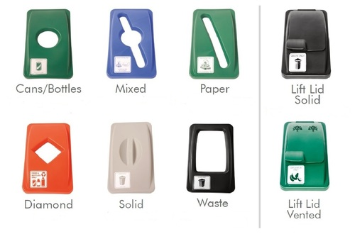 Lids WWLD for Waste Watchers Skinny Plastic Commercial Recycle Bins