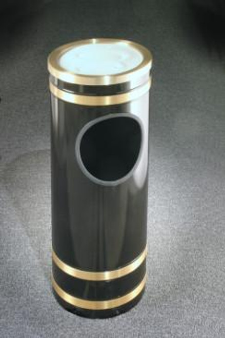 Monte Carlo Ash Trash Receptacle Sand Cover Top Satin Brass Cover and Bands
