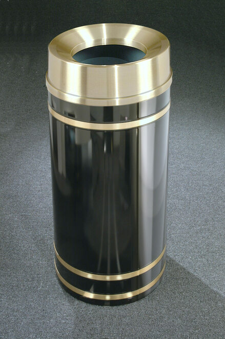 Monte Carlo F1255 Funnel Top Trash Can Satin Brass Cover and Bands